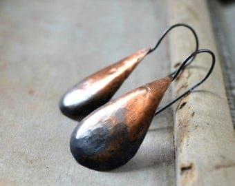 ON SALE Rustic copper earrings, teardrop earrings, ombre patina, sterling silver earrings, modern earrings, hammered metalwork - Small Ombre