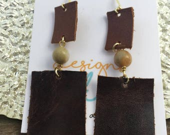 Brown Leather and Amazonite Earrings, Brown Square Leather Earrings, Brown Leather Rectangle Earrings, Leather Amazonite Rectangle Earrings