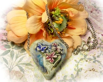 Ceramic Heart Necklace - Earthy Heart Necklace - Heart Jewelry - 18 Inch Chain - one of a kind necklace - gift necklace  # 140
