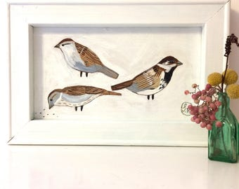Painting on reclaimed framed wood  of some sparrows