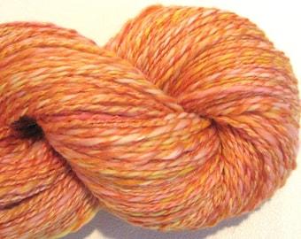 Handspun yarn You Are My Sunshine  DK weight  2 ply, 140 yards hand dyed merino silk pink yellow orange knitting supplies crochet