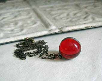 Marble Jewelry Red Glass,  Soldered Necklace, Valentine Red