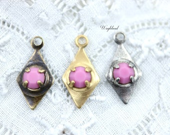 Earring Dangles 7x14mm Swarovski Rhinestone Charms Petite Diamond Shape Drops Crystal Jewelry Findings Opaque Pink - 6