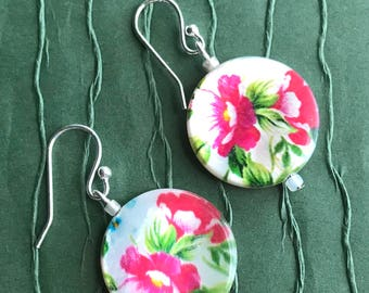 Open Rose Shell Earrings