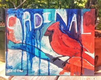 "Original Acrylic Painting on HardBoard - Cardinal 9""x12"""