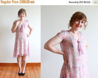 SALE vintage 1920s dress | 20s sheer silk floral garden party frock | size m - l