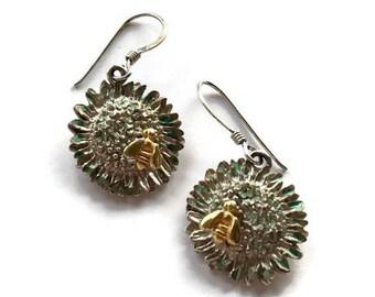 Sterling Sunflower Dangle Earrings Gold Tone Bee Green Enamel Vintage