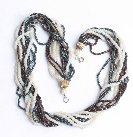 Simulated Pearl Multi Color Necklace Multi Strand Ivory Grey Brown 19 Inch