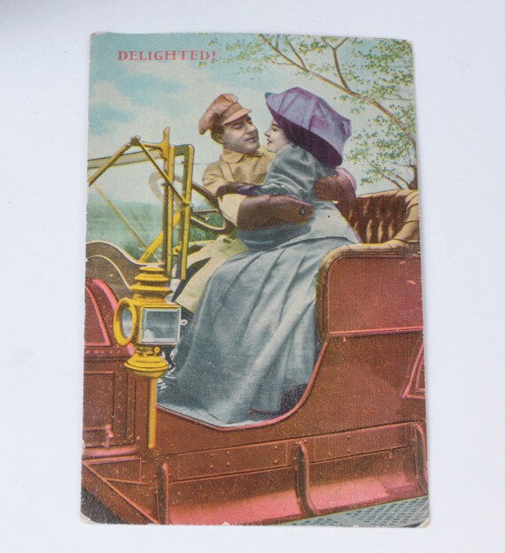 Couple in Early Automobile Postcard  1911 Antique