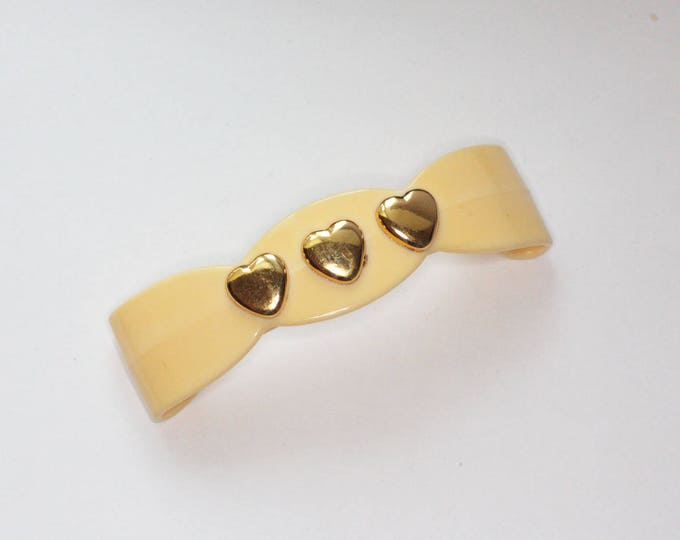 Yellow Plastic Hair Barrette Gold Tone Hearts Scalloped Design Vintage