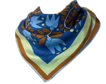 1970s Vera Neumann Mod Blue Brown Green Tulip Flower Pop Art Square Vera Lady Bug Vintage Scarf