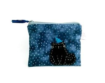 Black cat pouch mysterious gift night purse black cat coin purse Halloween gifts cute zipper pouch Halloween cat spooky gift