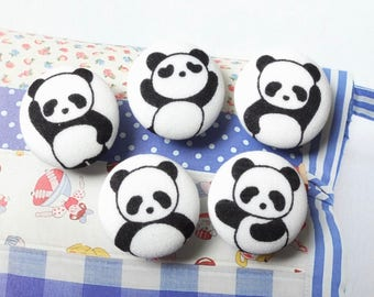 Lovely Cute Kawaii Black and White Panda - Handmade Fabric Covered Buttons(0.87 Inches, 5PCS)