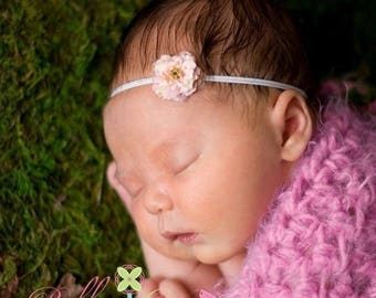 SUMMER SALE Baby Headband - Newborn Headband - Infant Pink Headband - Pink Flower on White Thin Headband - Photography Prop