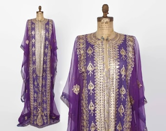Vintage 60s Sheer CAFTAN DRESS / 1960s Ethnic METALLIC Gold Embroidered Maxi