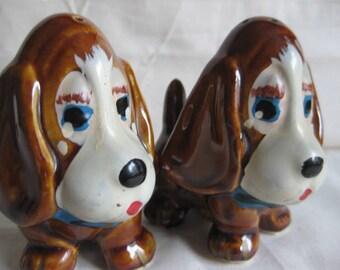 Sad Vintage Japan Big Eyed Sad Hound dog Salt and Pepper Shakers