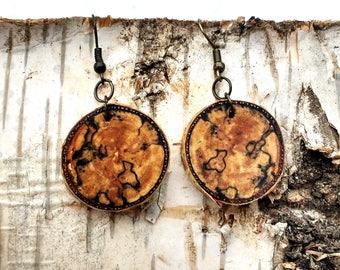 Salvaged Birch Earrings, Boho Earrings, Spalted Wood Earrings, Tree Slice Earrings, Rustic Earrings