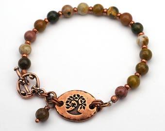 Multicolor tree bracelet, ocean jasper beads, semiprecious stone and copper, 7 1/4 inches long