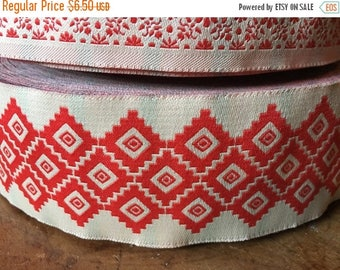 """Christmas Sale Vintage Jacquard Sewing Trim Bold RED SOUTHWESTERN DIAMOND Wide Upholstery 1.75"""" by the yard"""