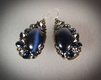 Large dark Blue and gray Rhinestone teardrop cluster dangle Earrings/Antique gold/Dark blue catseye cabochon/Handmade/VNV Design #0528201711