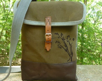 Vintage Canvas Army Satchel / Messenger Bag with Hand Painted Abstract Tree. Waterproof Interior. IPad bag. Custom Art Available.