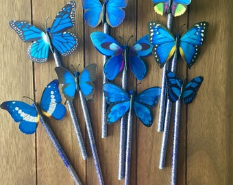 Dark blue glitter butterfly pencil