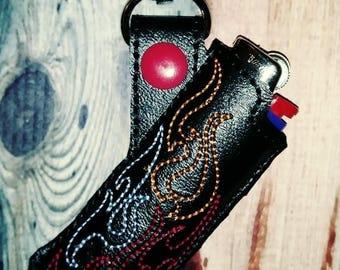 Lighter holder - smoker accessory - cigarette lighter - Lighter holder keychain - flame - swivel clip - flames - smoke - stocking stuffer