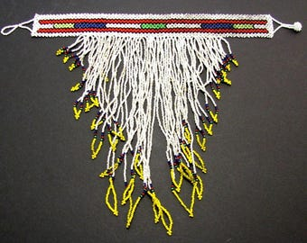 Vintage AFRICAN TRIBAL BEADED Necklace Native Collar Fringe Beads Antique