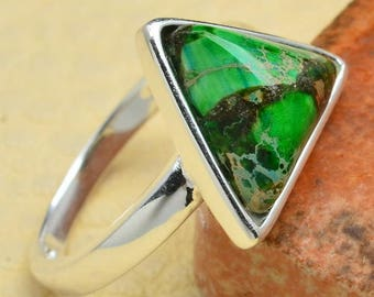Triangle Sterling Silver and Green Turquoise Ring Size 5 1/4