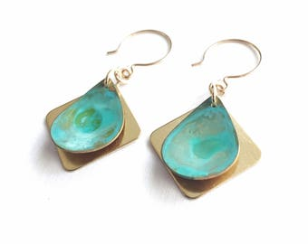 Verdigris Drop Earrings