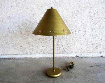 Vintage Mid Century Brass Finish Lamp with Fleur-de-lis Shade. Circa 1960's.
