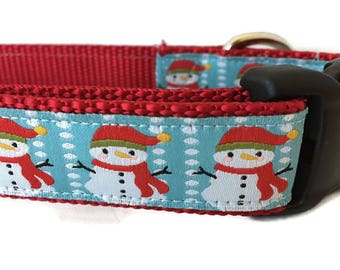 Christmas Dog Collar and Leash, Snowmen, 6ft lead, 1 inch wide, adjustable, quick release, metal buckle, chain, martingale, hybrid