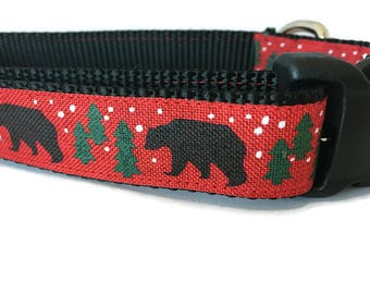 Dog Collar, Black Bear, 1 inch wide, adjustable, quick release, medium, 13-19 inches