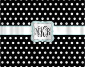 Personalized Shower Curtain - Black & White Polka Dots - Robins egg blue accent