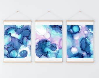 Set of 3 Abstract Art Prints, Abstract Printables, Abstract Painting Prints, Alcohol Ink Painting, 8x10 Print Modern Decor, purple blue pink