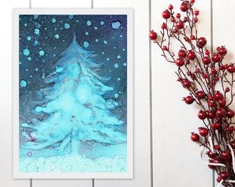 Blue Christmas Tree Printable, Abstract Art Print, Alcohol Ink Painting Print, Christmas Decor Wall Art Instant Download, A4 8x11 9x12 print