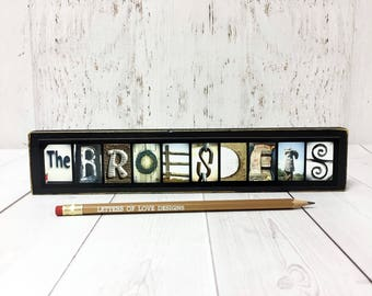 Wedding Gift Wood Sign, Last Name Wood Sign Wall Art, Wedding Favors, Name Letter Pictures, Alphabet Photography, Photo Letter Art Pictures