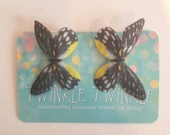 "1 Pair ""Oberon's Attendants"" Silk Black White and Yellow Butterfly Hairclips"