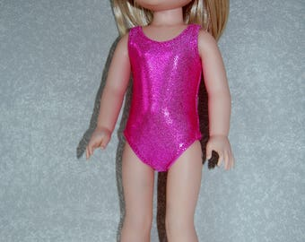 """Swimsuit for 14.5"""" Wellie Wishers or Melissa & Doug Doll Clothes shimmery dark pink tkct1152 READY TO SHIP"""