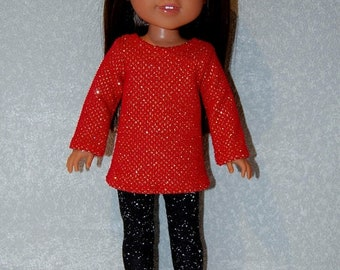 """Spring Sale Top and Pants for 14"""" Wellie Wishers or Melissa & Doug Doll Clothes Red sparkle top black leggings tkct1187 READY TO SHIP"""