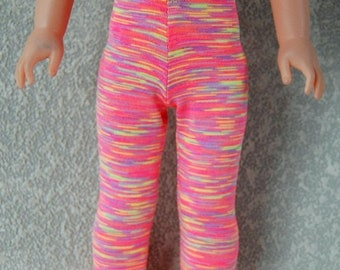 Spring Sale Leggings handmade for 14.5 inch Wellie Wishers tkct1219 purple/yellow/coral stripes READY TO SHIP