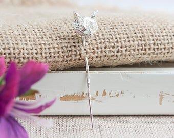 Sterling silver 3d fox head tie lapel stick pin
