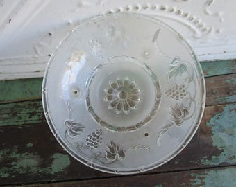Antique Vintage Glass Art Deco Floral Grape frosted 3 chain ceiling lamp shade  #1