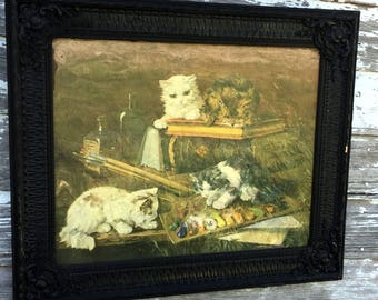 Antique Victorian Cat Kitten Playing in Paint Print Lithograph Carved Wood Frame Dated 1907