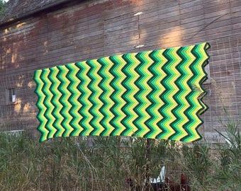 "Vintage Afghan Crochet Chevron 1970's retro yellow green  67x51"""