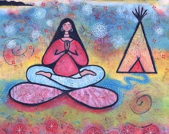 Original Acrylic Yoga Painting - Eternally Grateful