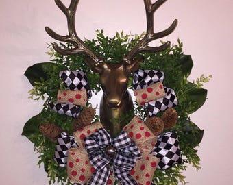 Makenzie Child's MC inspired Christmas Holiday deer wreath