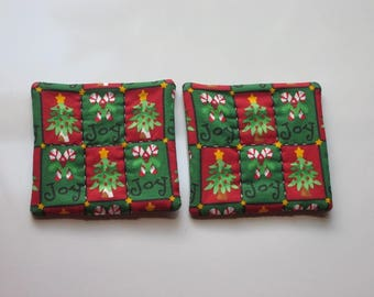 refrigerator magnets red and green christmas joy candy canes and christmas trees hand quilted stocking stuffer set of 2