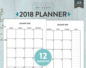 2018 Planner, Planner 2018, A5 Planner, Monthly Planner 2018, Filofax a5, Yearly Planner, 2018 Agenda, 2018 Pages, Weekly Planner 2018