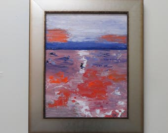 Ominous Sky-Original Oil Painting by Evie Mineau, Framed & Ready to Hang, Free Shipping